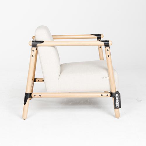 Vroonland Pin Lounge Armchair beige bekleding