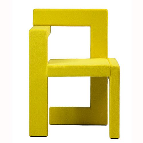 Rietveld steltman stoel vilt geel for Steltman stoel afmetingen