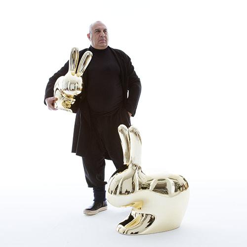 qeeboo rabbit chair goud