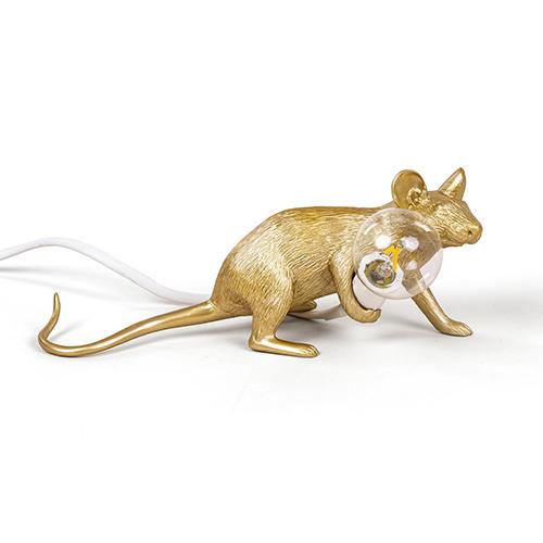 seletti muis lamp goud liggend