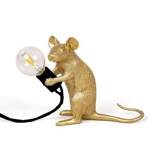 seletti muis lamp goud zittend