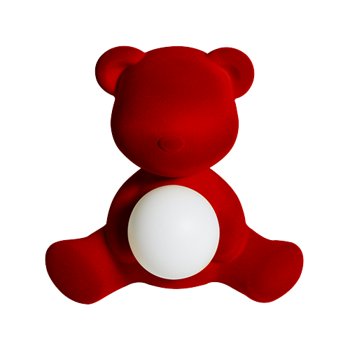 qeeboo teddy girl velvet lamp rood