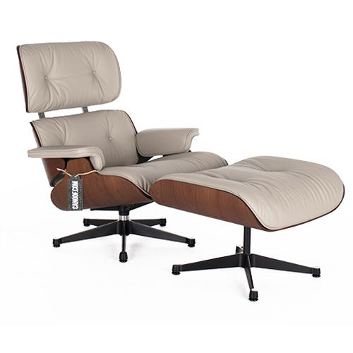 Vitra Eames Lounge Chair en Ottoman mohoniehout grijs